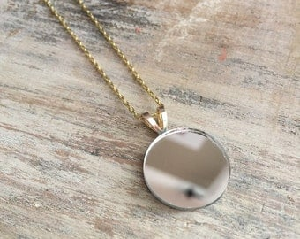 Mirror Necklace #5 Medium // Dainty Silver Mirror Necklace with Gold-Colored chain  // Minimalist Necklace