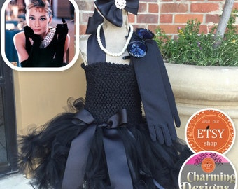 READY - 5 piece SET Breakfast at Tiffany's TuTu - Ready to SHIP - Audrey Hepburn - Little Black Dress // 1 - 8 years by Charming Designs