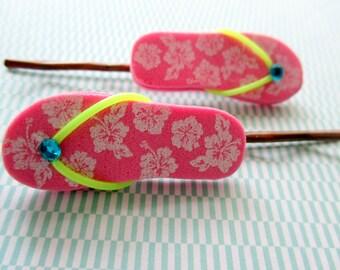 SALE-Flip flop hair accessories- flip flop bobby pins- Girls hair pins-Teen Bobby pins- Summer hair accessories- Fun gifts for kids-handmade