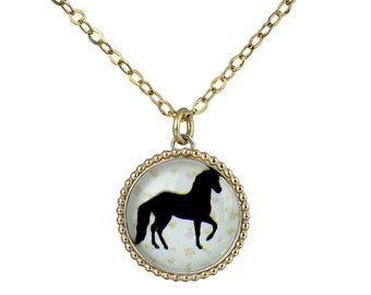 Horse Glass Art Necklace, Horse Silhouette Pendant, 14K Gold Filled, 925 Sterling Silver Bezel, Nature, Horse Jewelry Y993