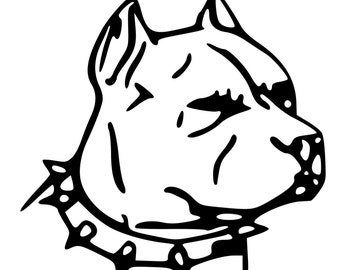 Pitbull head etsy - Dessin de pitbull ...