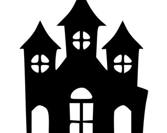 haunted house silhouette etsy. Black Bedroom Furniture Sets. Home Design Ideas