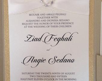 Elegant Wedding Pocket Fold Invitation Suite