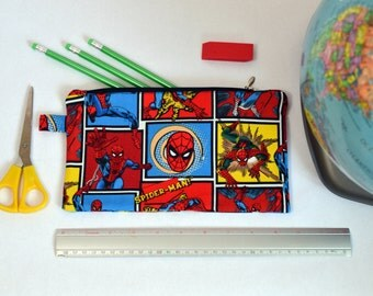 Zippered bag Made From Spiderman Fabric, Back to school Pencil case, Superhero Zipper Pouch.
