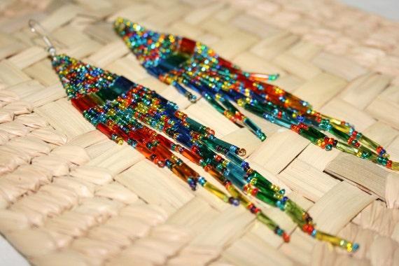 Shiny Multi Color Huichol Earrings, Native American Dangle Earrings, Peyote Earrings, Multi Color Earrings, Beaded Earrings, Long Earrings
