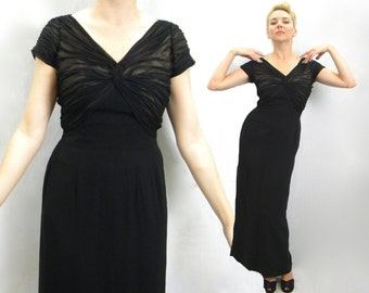 40s Black Evening Gown | Silk Long Black Dress | Black Formal Dress | Small