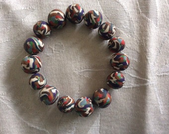 Multi-colored hand made bead bracelet