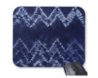 Chevron Shibori Print Mouse Pad, Indigo/Denim Blue Japanese Tie-Dyed Boho Mousepad