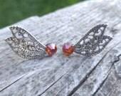 MADE TO ORDER - Swarovski Crystal - Double Wing Earring - Fairy Earrings - Butterfly Earrings - Surgical Steel Post