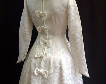 1950's Brocade Wedding Dress With Bows