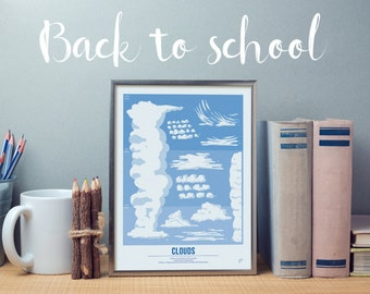 Back to school Clouds - geography print, school poster, Little Explorer Set, back to school