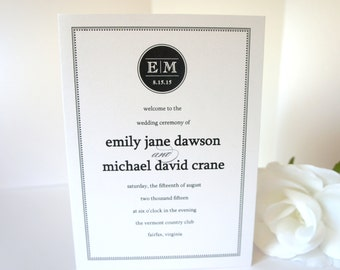 Monogram Wedding Program, Modern, Black Wedding Ceremony Programs, Modern Wedding, Wedding Program, Modern Wedding Programs - DEPOSIT