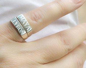 Engraved ring, Personalized Ring, men/women ring, Initial ring, Gift for women, Monogram Ring, letter Ring, Pinky ring, size 3 4 5 6 7 8 9