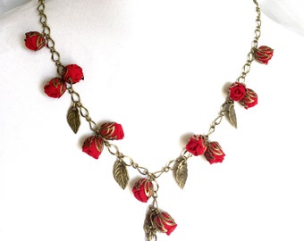 Handmade necklace. Fabric necklace. Unique textile jewelry. Roses Necklace Red