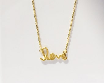 Love Necklace, Gold Plated 925 Sterling Silver Ready for Summer And at an Affordable Price Too