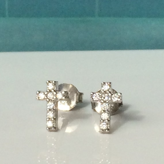 cross stud cz earrings in solid sterling silver and sparkling cubic zirconia, safe to get wet, post back, ON SALE NOW