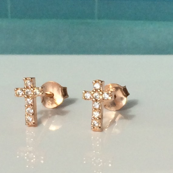 cz cross stud earrings in rose gold plated sterling silver with real dazzling cubic zirconia, safe to wet and NOW ON SALE
