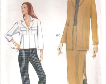 Vogue 7180 Pattern: Misses' Jacket, Skirt and Pants. Sizes 12, 14, 16.