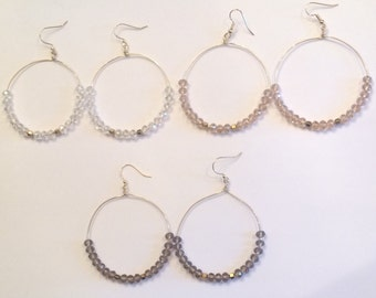 Beaded Hoop Earrings | Beaded Wire Hoops | Beaded Earrings | Wire Hoop Earrings