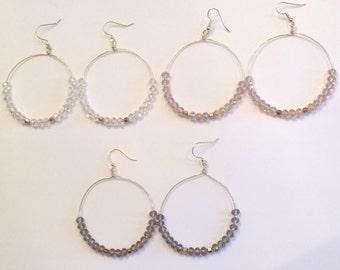 Beaded Hoop Earrings | Beaded Wire Hoops | Beaded Earrings | Wire Hoop Earrings