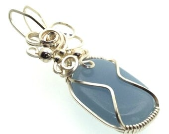 Peruvian Angelite Gemstone Wire Wrapped Pendant Design 9