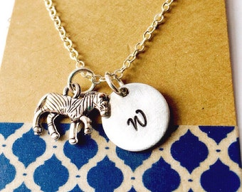 Zebra Initial Name Necklace, Animal Necklace, Tiny Zebra Charm Necklace, Personalized Initial Necklace