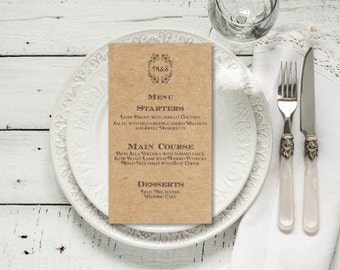 Wedding Menu Editable Template, Rustic Kraft Editable Text Wedding Menu, Instant Download wedding menu template, digital PDF, you print, DIY