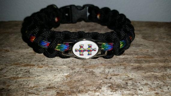 Autism Aspergers Awareness ribbon 550 paracord survival bracelet shoelace charm