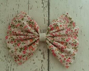 Fabric Bow Hair Clip Slide Floral Vintage Peach Alligator Clip Ribbon Bow Large Handmade