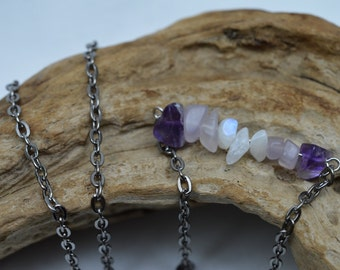 Amethyst and moonstone bar necklace