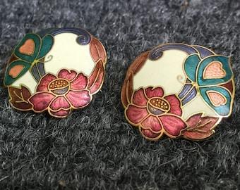Vintage Butterfly with Flower Stud Post Earrings