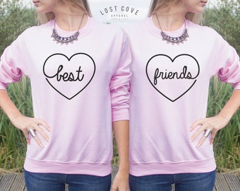 Best Friends Jumper Sweater Top Gift Pink Cute Fashion BFF's BFF Matching Sweaters Besties Set of 2