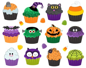 Halloween Treats and Cupcakes Clip Art - Set of 17 Hand Drawn Holiday Design Elements - PNG, JPG, and Vector Files Digital Download
