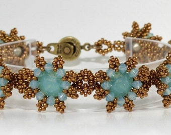 Pacific Opal Blue/Green Swarovski crystals and seed beaded bracelet called Petite Flowers
