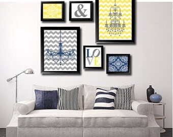 Navy, Yellow And Grey Modern Home Wall Art Print Set, Love Art, Chandelier