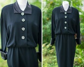 40s suit dress Medium Large black cocktail with big decorative buttons fancy professional office wear to work