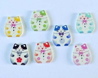 Mixed Lovely Plutus Cat  - 2 Holes - Quilting Buttons - Sewing Buttons - Embellishments -  #SB- 00144
