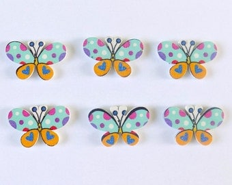6 Blue and Orange Wooden Butterfly Buttons - #BF-00004