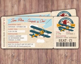 Vintage Airplane Boarding Pass Birthday Invitation- Vintage / Rustic / Airplane / Birthday Party, first birthday, ticket invitation, 1st