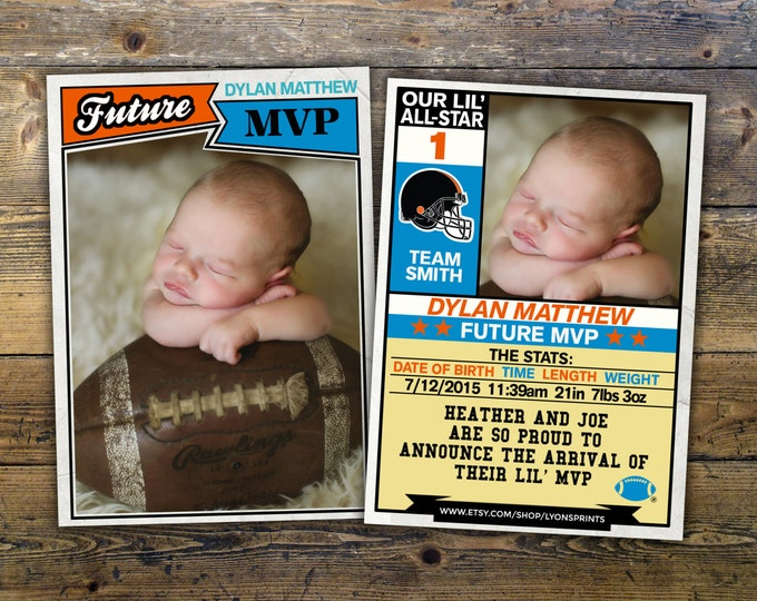 Football card, baseball, pregnancy announcement, birth announcement, baby boy, sports, baby shower, baby announcement, baby shower,