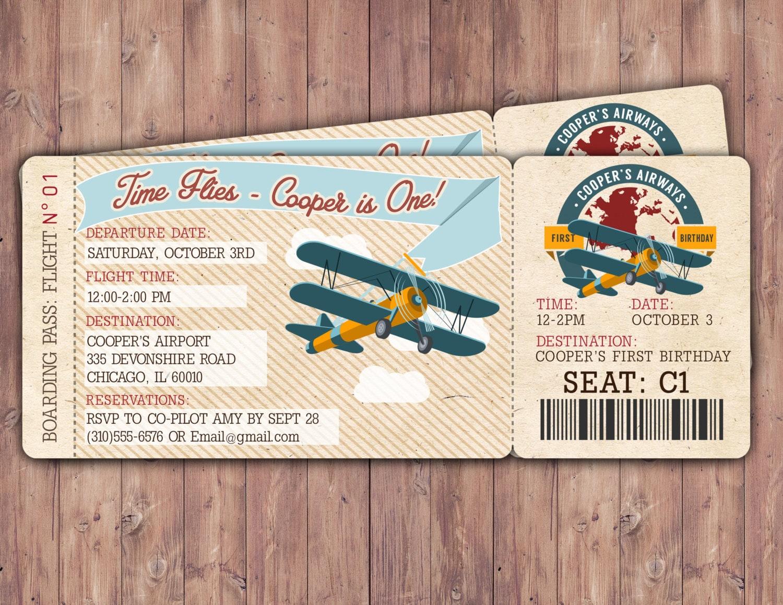 Time flies Vintage Airplane Boarding Pass Birthday – Airline Ticket Birthday Invitations