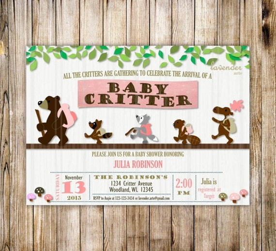 little critter woodland baby shower invitation forest animals baby