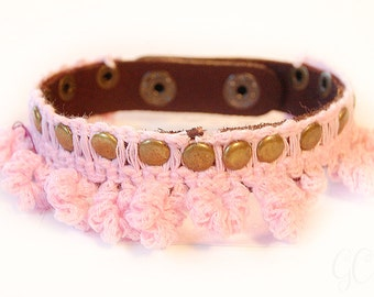 Womens lace and leather bracelet! Vintage style leather and lace riveted bracelet!
