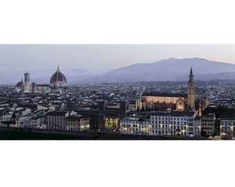 Photograph of Florence, night photograph, Florence skyline. Piazzale Michelangelo Panoramic photography. Firenze, Duomo.