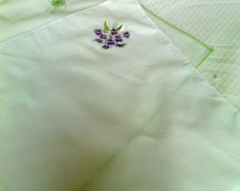 Two Embroidered White Hankies