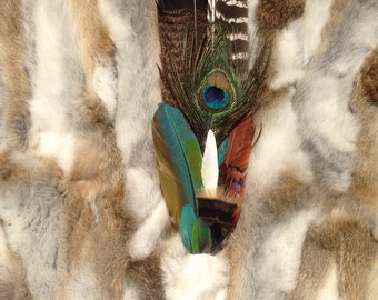 Ceremonial Feather Smudge Fan with Macaw Feathers, Rabbit Fur, & Antler