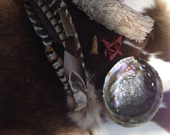 Ceremonial Feather Smudge Fan Large Kit with Fox Fur, Geode, & Antler