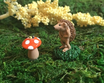 Miniature Fairy Garden Animal, Hedgehog Figurine, Fall Terrarium Collectable Woodland Sculpture