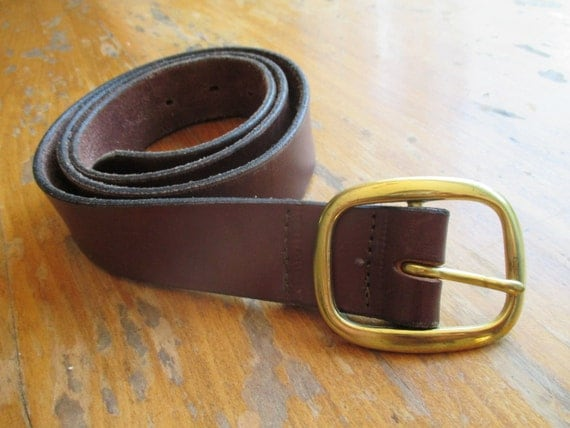 vintage thick brown leather belt with solid brass buckle
