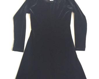 Vintage 90s Longsleeve Balck Velvet Skater Dress